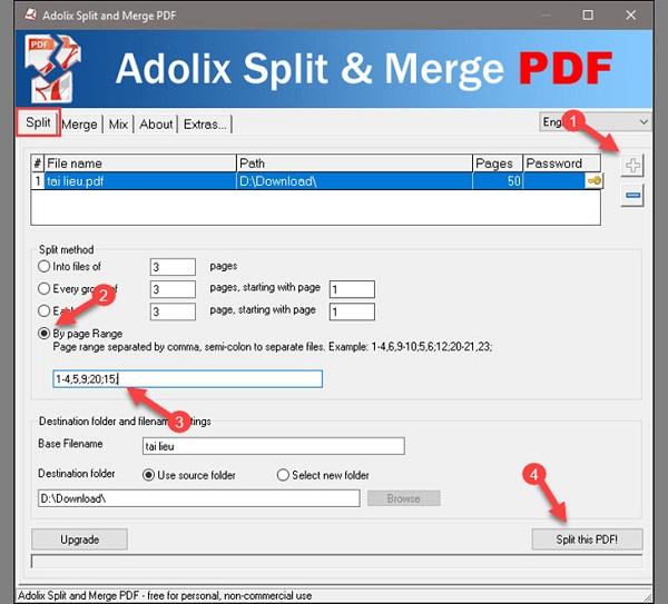 Bước 2 cắt file pdf