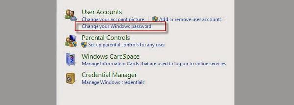 Bước 3 đổi pass máy tính trên Win 7