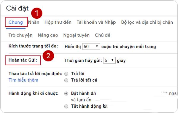 Hãy chọn hoàn tác gửi trong tab Chung