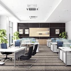 Văn phòng sử dụng vách ngăn kính giữa các bàn làm việc cá nhân