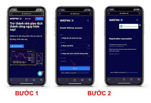 Hướng dẫn các bước tạo tài khoản Wefinex